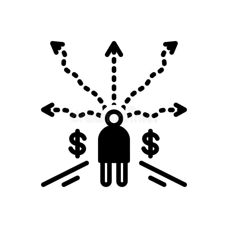Schwarze feste Ikone für unternehmerische Entscheidung, Urteil und Urteilsspruch vektor abbildung