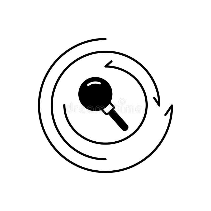 Schwarze feste Ikone für Untersuchung, Forschung und Untersuchung lizenzfreie abbildung