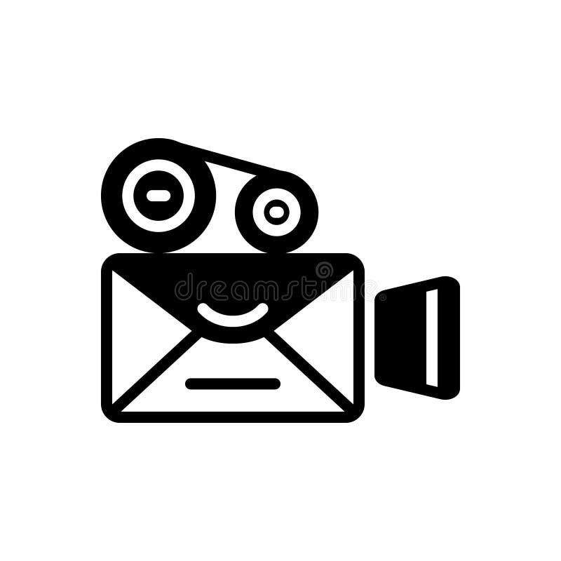 Schwarze feste Ikone für Videopostsendung, Antriebskraft und Anwendung lizenzfreie abbildung
