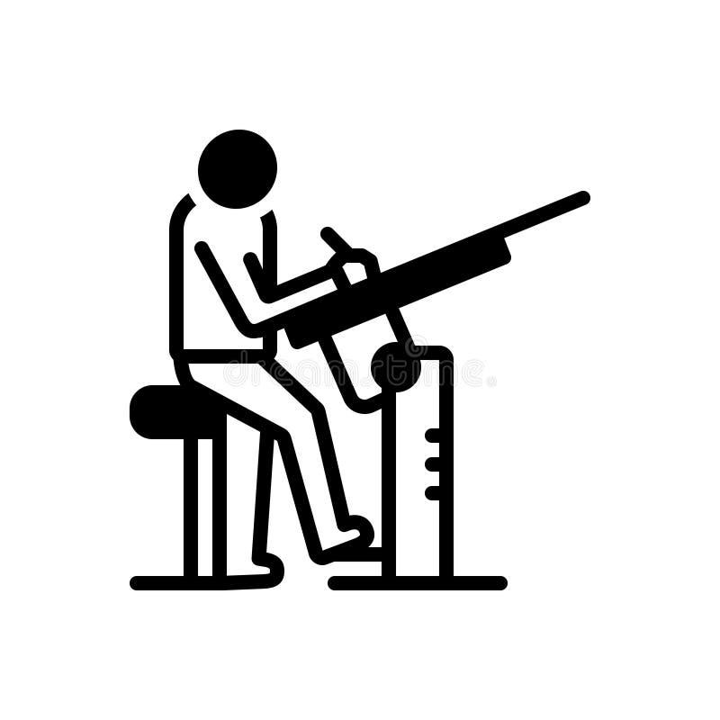 Schwarze feste Ikone für Zeichner, Mann und Gewehr stock abbildung