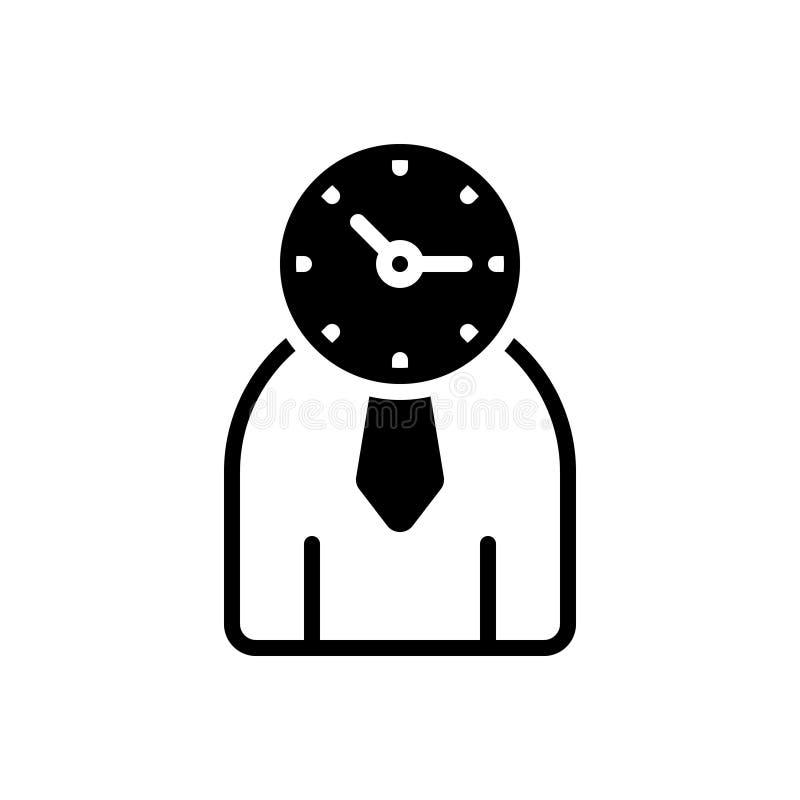 Schwarze feste Ikone für Zeit-Management, stellen einzeln dar und handhaben lizenzfreie abbildung