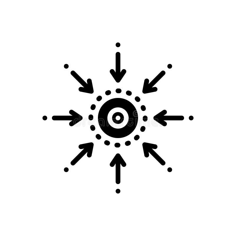 Schwarze feste Ikone für zentrale Bedeutung, zentral und anschließen vektor abbildung