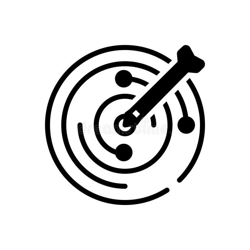 Schwarze feste Ikone für Ziel, Ziel und Ziel stock abbildung