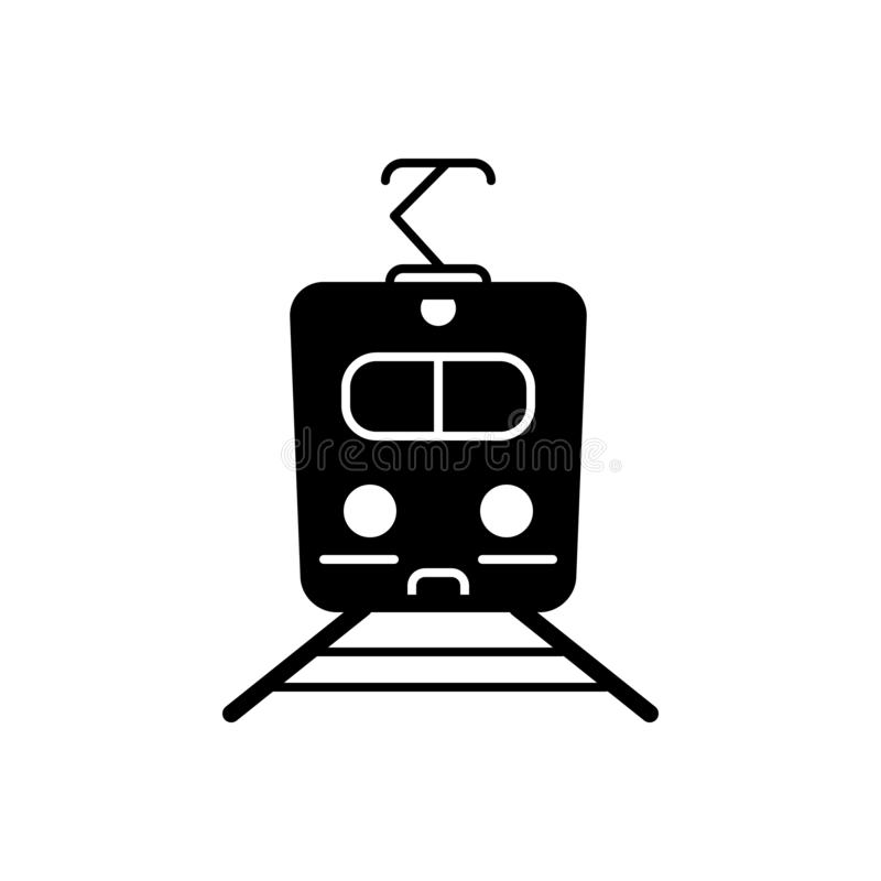 Schwarze feste Ikone für Zug, Metro und Reise stock abbildung