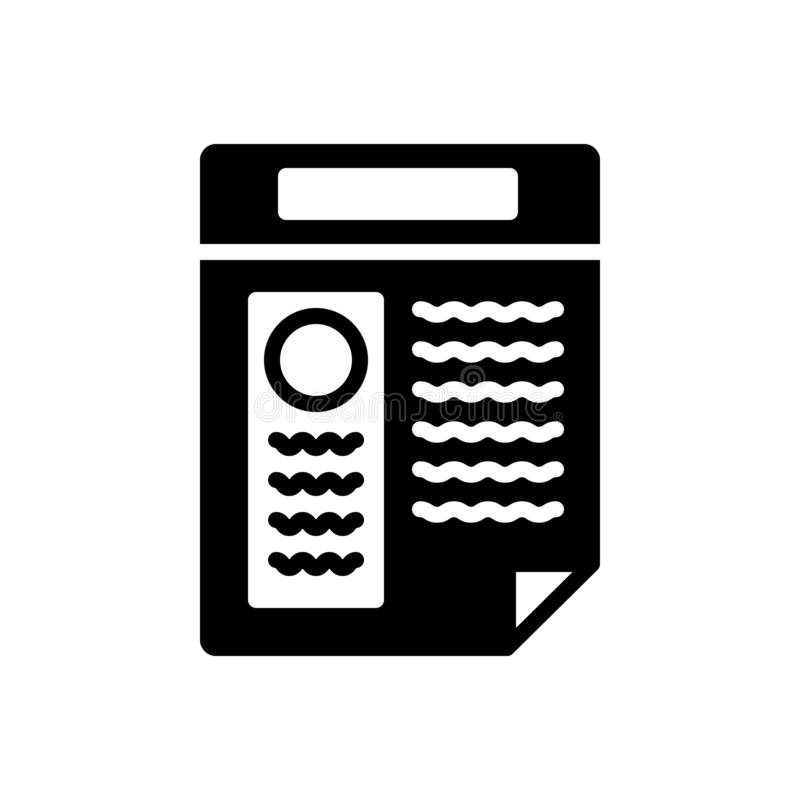 Schwarze feste Ikone für Zusammenfassung, Anwendung und infographic vektor abbildung
