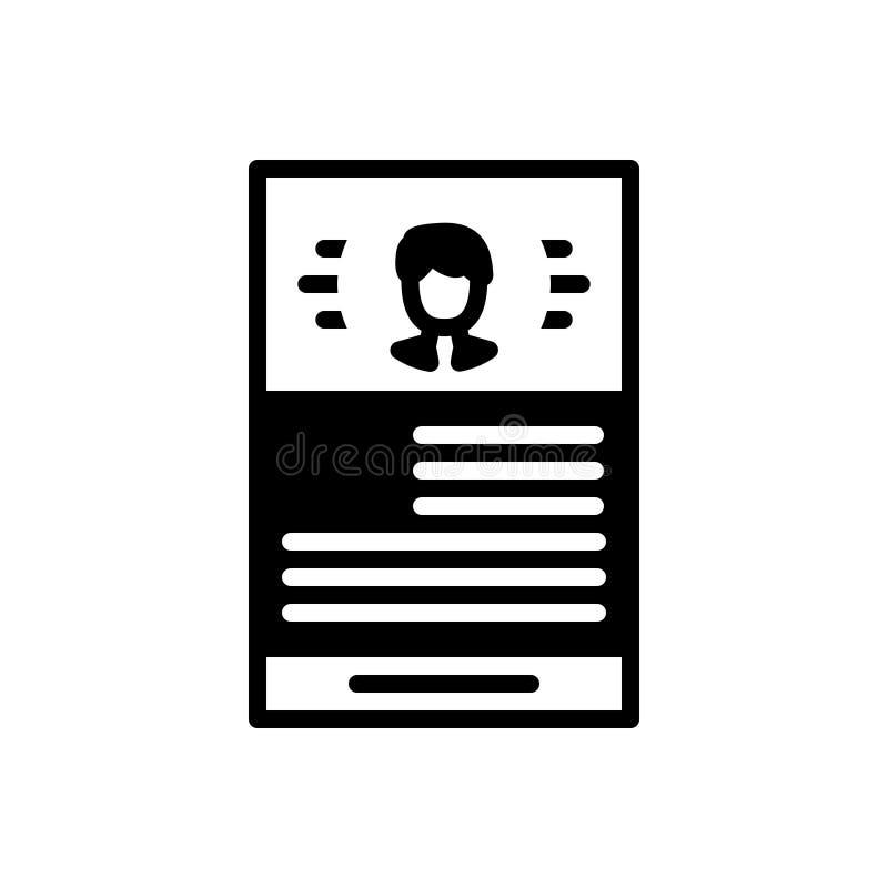 Schwarze feste Ikone für Zusammenfassung, Portfolio und Anwendung stock abbildung