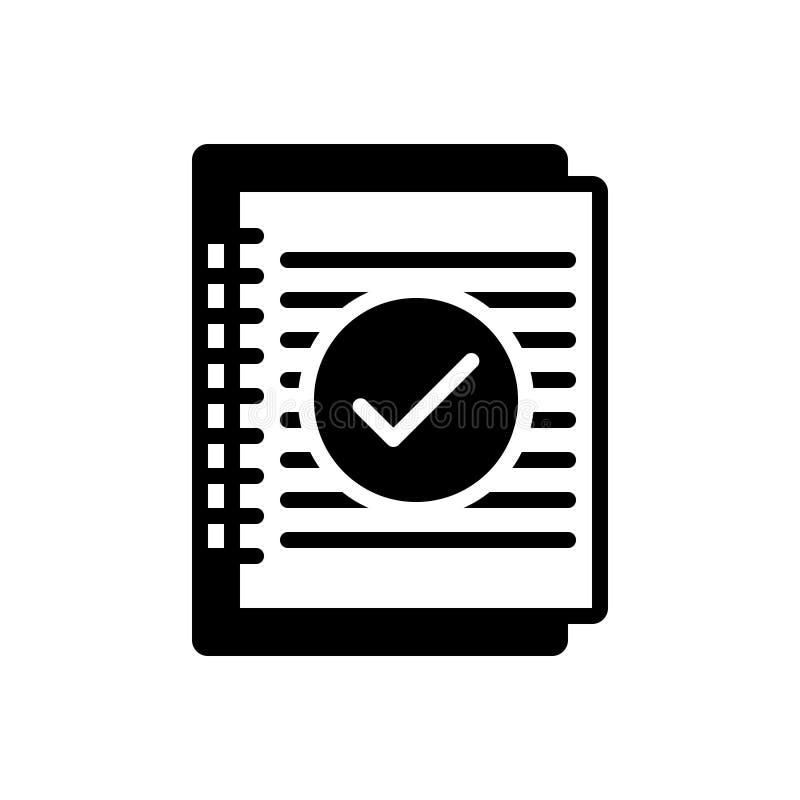 Schwarze feste Ikone für Zusammenfassung, Zusammenfassung und Anwendung vektor abbildung