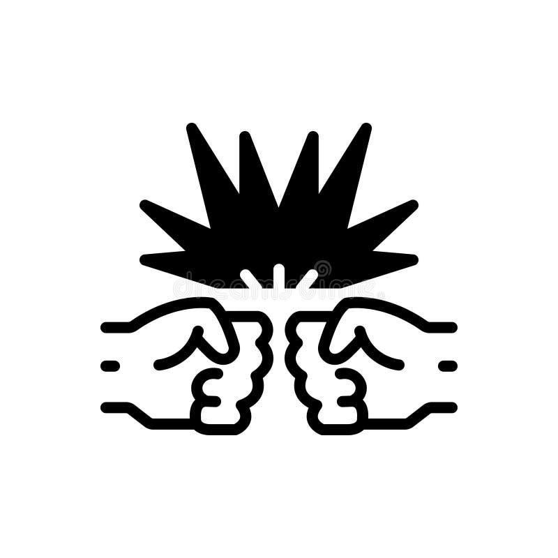 Schwarze feste Ikone für Zusammentreffen, Kampf und Jagd vektor abbildung