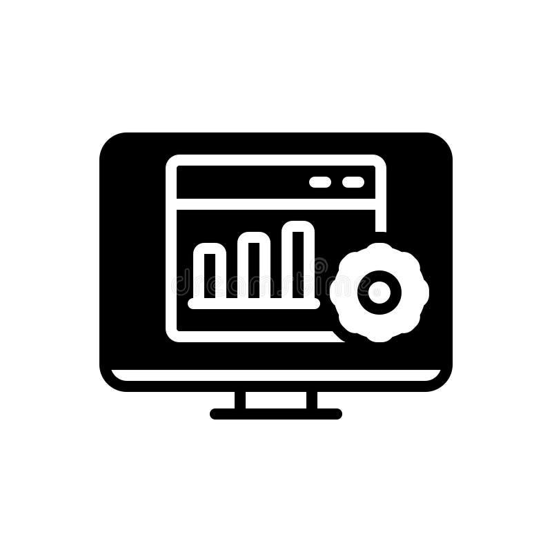 Schwarze feste Ikone f?r Statistiken, Analytics und Bericht stock abbildung