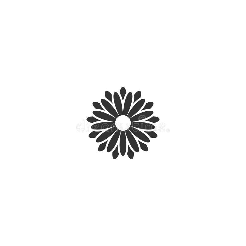 Schwarze flache Ikone der Chrysanthemenblume Große Blüte mit den großen ovalen Blumenblättern und weißem Kern Lokalisiert auf Wei vektor abbildung