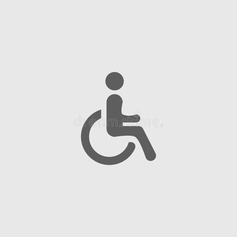 Schwarze flache flache Ikone des behinderten, zugänglichen Mannes lizenzfreie abbildung
