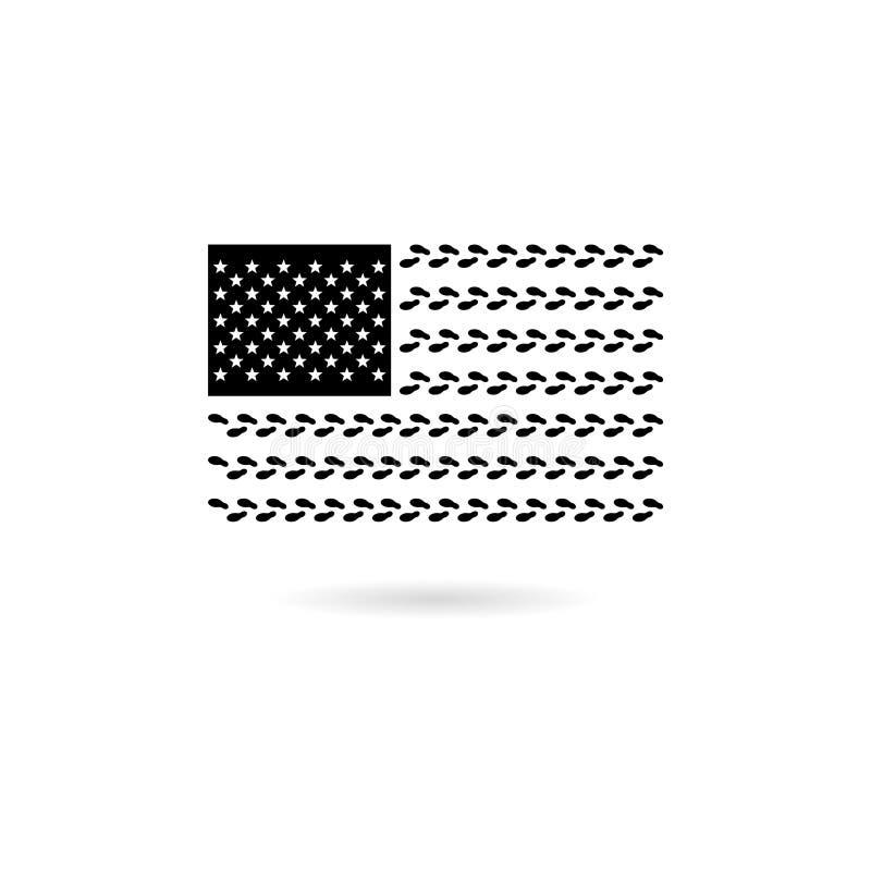 Schwarze Flaggenikone oder -logo der Vereinigten Staaten von Amerika vektor abbildung