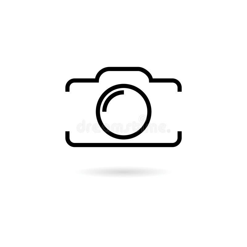 Schwarze Fotokamera, Linie Ikone oder Logo vektor abbildung