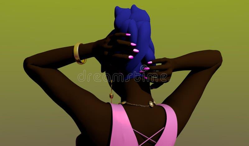 Schwarze Frau, die ihr Haar anredet lizenzfreie stockfotografie