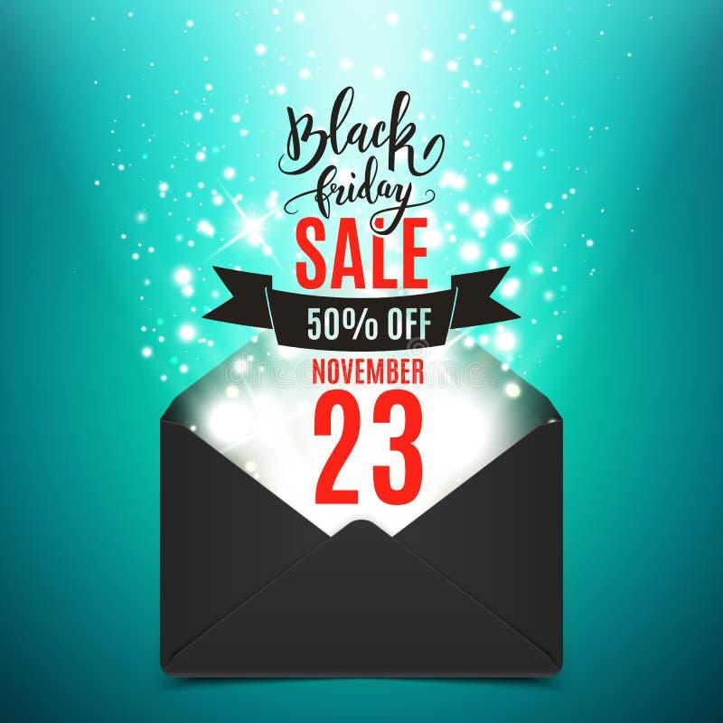 Schwarze Freitag-Anzeigenfahne, Umschlag mit Glanz, Vektor I vektor abbildung