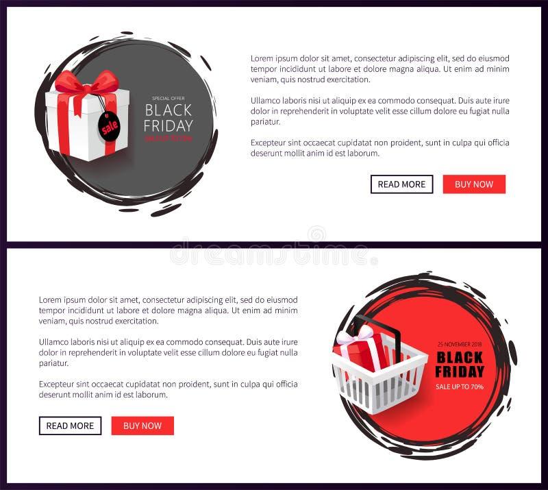 Schwarze Freitag-Internet-Fahnen mit Korb und Geschenk lizenzfreie abbildung