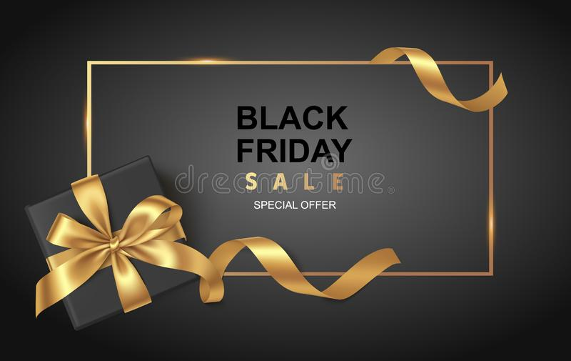 Schwarze Freitag-Verkaufsdesignschablone Dekorative schwarze Geschenkbox mit goldenem Bogen und langem Band Auch im corel abgehob vektor abbildung