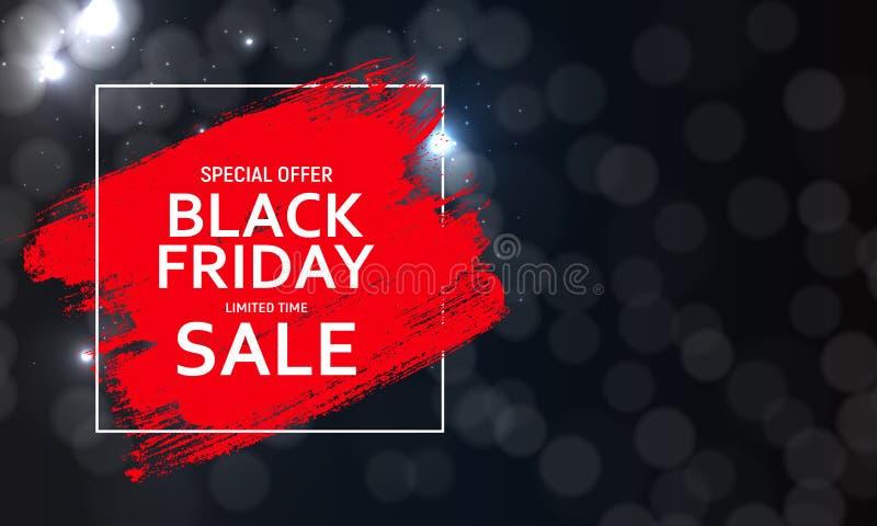 Schwarze Freitag-Verkaufsfahnenschablone Auch im corel abgehobenen Betrag lizenzfreie abbildung