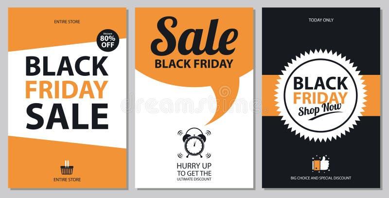 Schwarze Freitag-Verkaufskartensätze stock abbildung