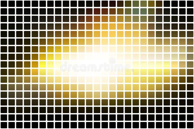 Schwarze gelbe weiße Zusammenfassung rundete Mosaikhintergrund über Weiß stock abbildung