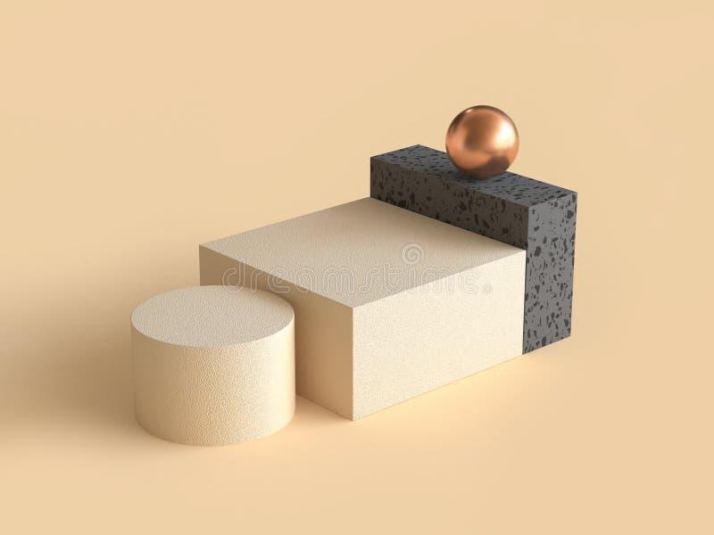 Schwarze geometrische quadratische Sahnewiedergabe des Formgoldbereichs 3d stock abbildung