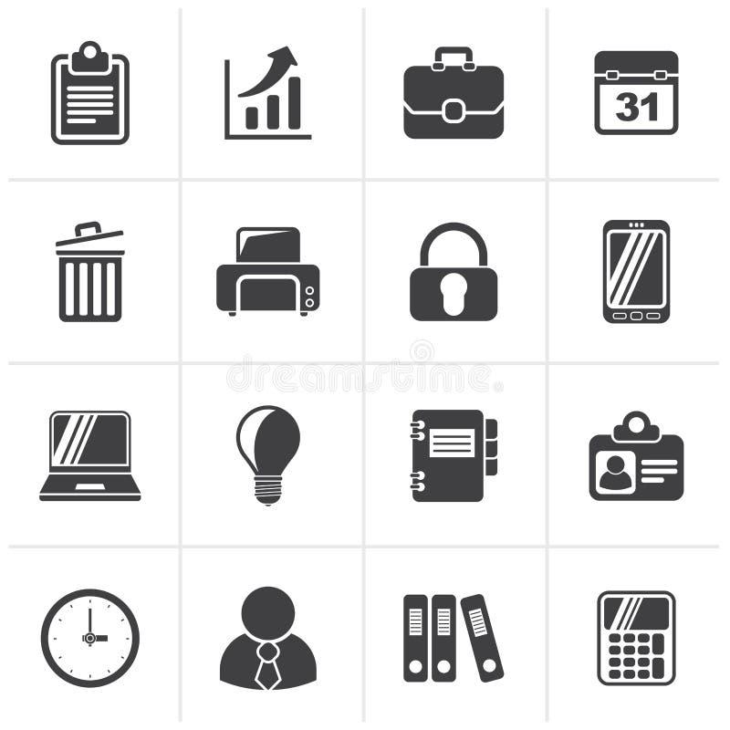 Schwarze Geschäfts-und Büro Ikonen vektor abbildung