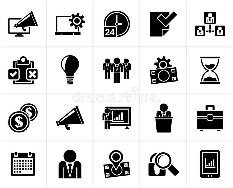 Schwarze Geschäftsführungs-Konzeptikonen stock abbildung