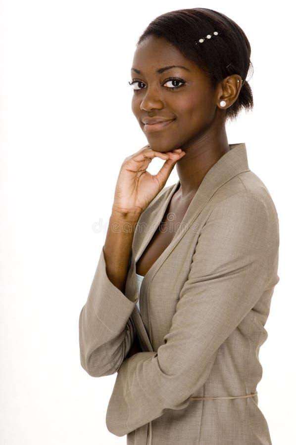 Schwarze Geschäftsfrau stockfoto