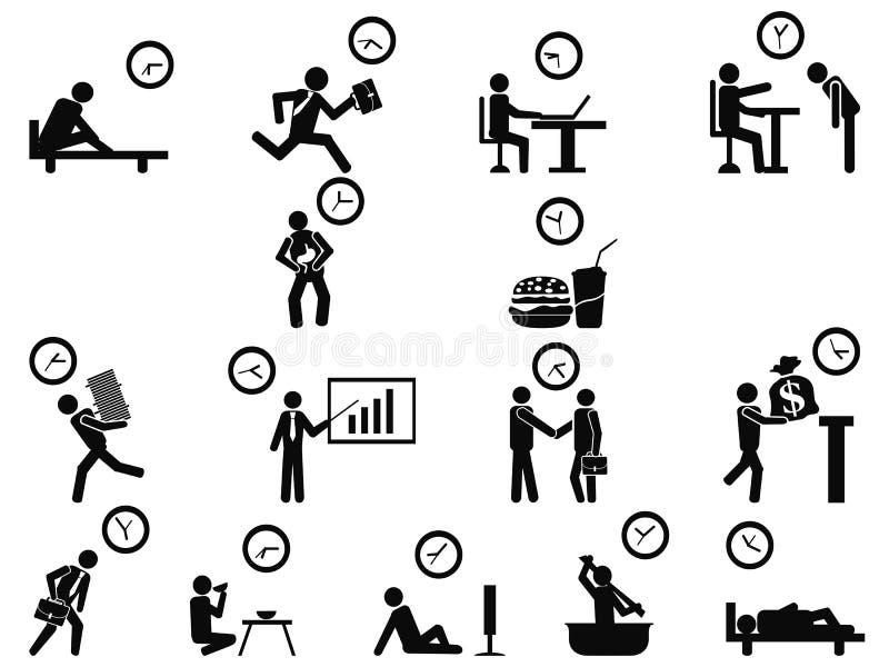 Schwarze Geschäftsmannzeitmanagement-Konzeptikonen eingestellt vektor abbildung