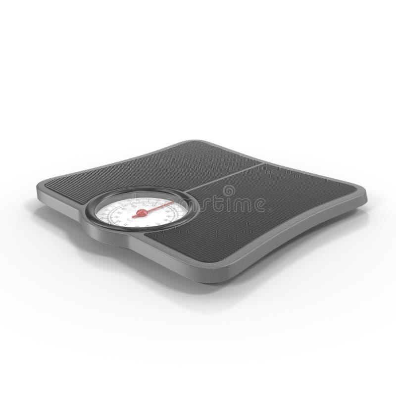 Schwarze Gewichtsskala des Badezimmers auf Weiß Abbildung 3D stock abbildung