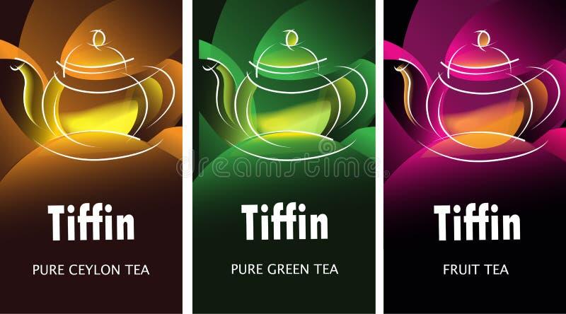 Schwarze, Grüne und Fruchttee-Verpackungsgestaltungs-Streckenschablonen mit den glänzenden Teekannen basiert auf ERFUNDENEM TeeMa stock abbildung