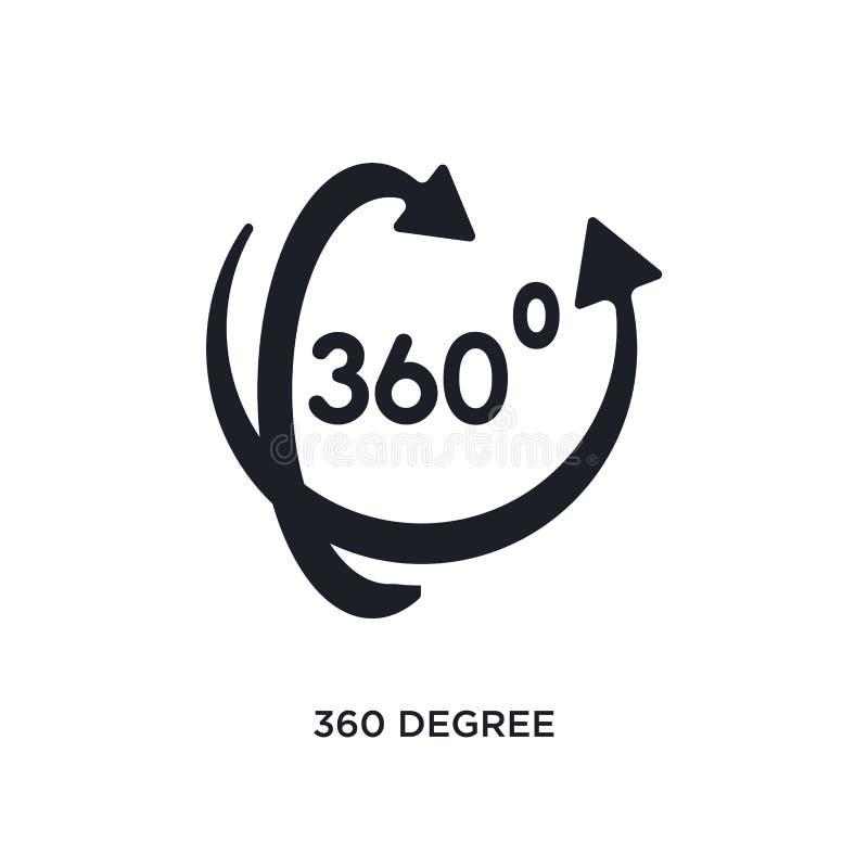 schwarze 360 Grad lokalisierte Vektorikone einfache Elementillustration von vergrößerten Wirklichkeitskonzept-Vektorikonen 360 Gr lizenzfreie abbildung