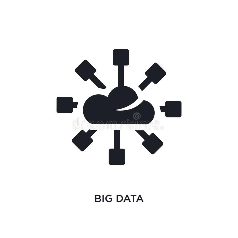 schwarze große Daten lokalisierte Vektorikone einfache Elementillustration von den Konzeptvektorikonen editable schwarzes Logosym lizenzfreie abbildung