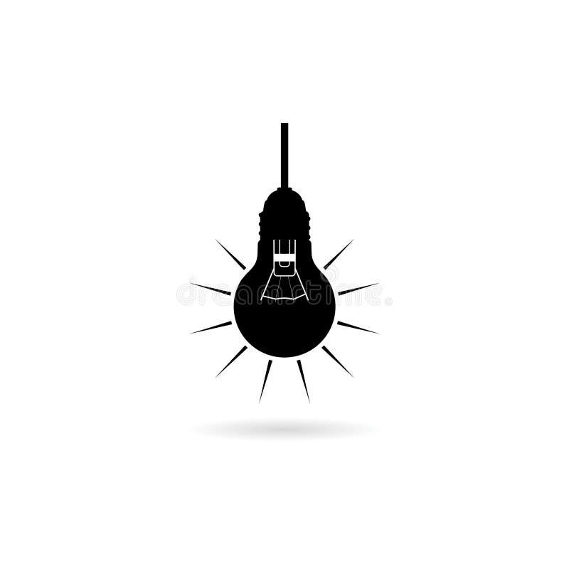 Schwarze hängende Glühlampeikone oder -logo lizenzfreie abbildung