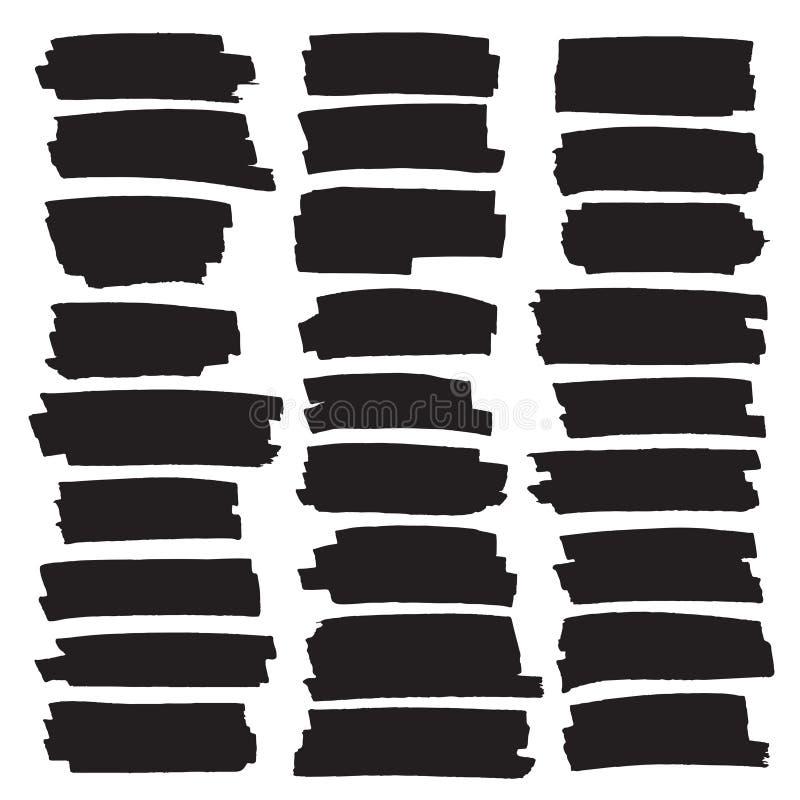 Schwarze Höhepunktstreifen, Fahnen gezeichnet mit Markierungen vektor abbildung