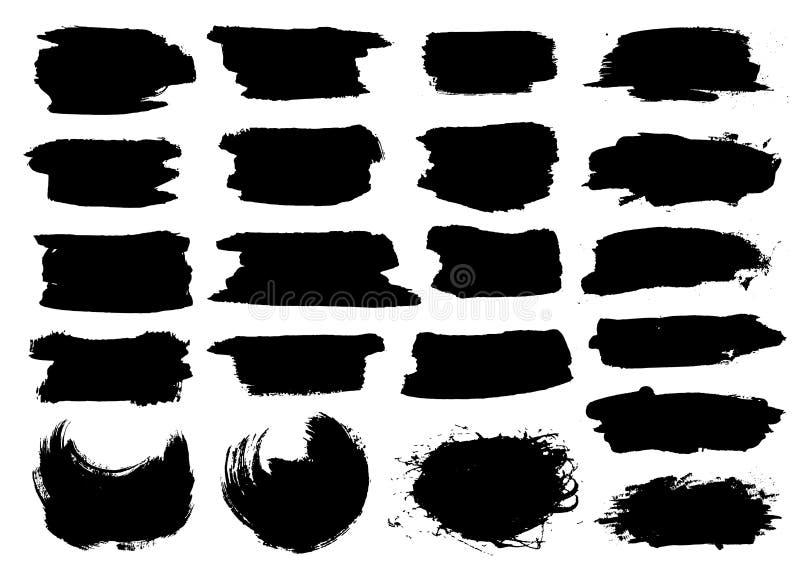 Schwarze Höhepunktstreifen, Fahnen gezeichnet mit Markierungen Stilvolle Höhepunktelemente für Design Vektorfahnen-Markierungsans stock abbildung