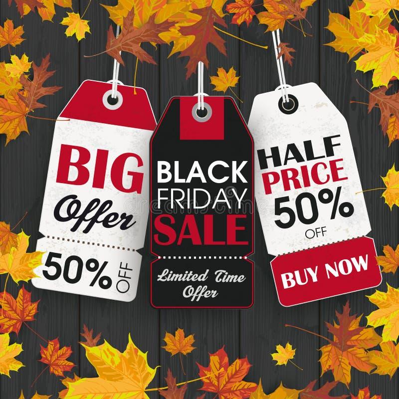 Schwarze hölzerne Hintergrund-Black Friday-Preis-Aufkleber stock abbildung