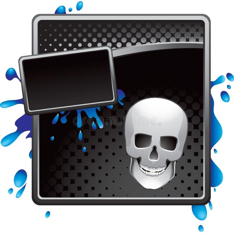 Schwarze Halbtonhalloween-Schädelreklameanzeige lizenzfreie abbildung