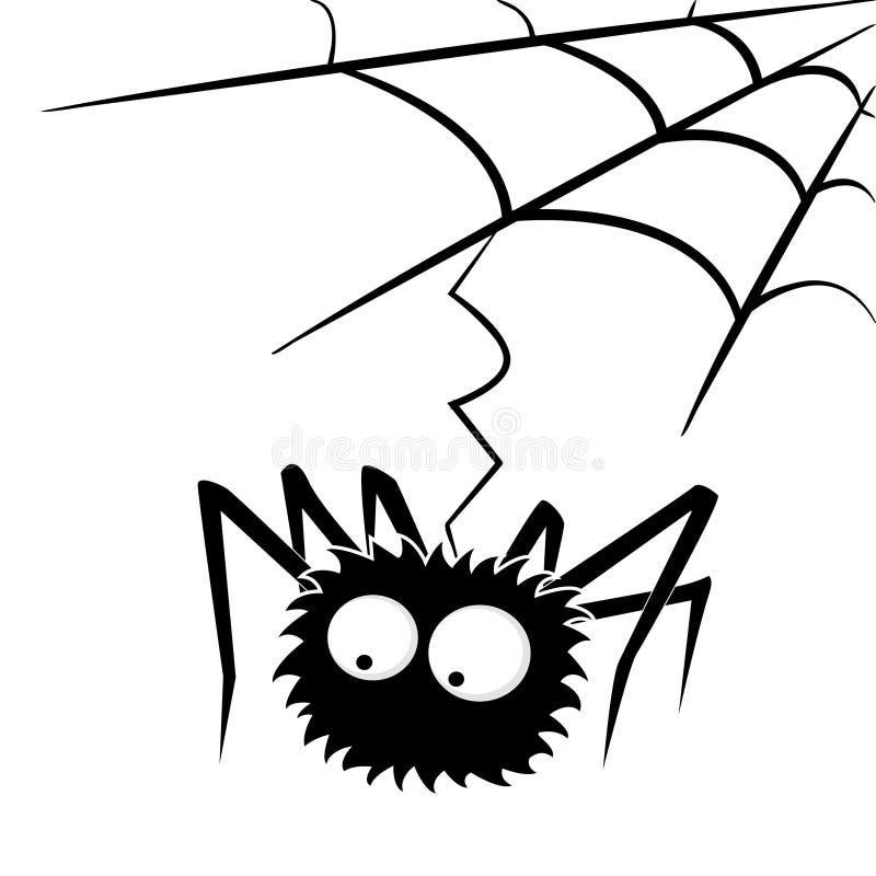 Schwarze Halloween-Spinne mit Netz lizenzfreie abbildung