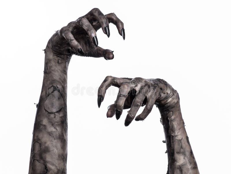 Schwarze Hand des Todes, absolut gehen, Zombiethema, Halloween-Thema, Zombiehände, weißer Hintergrund, Mamahände stockfotografie