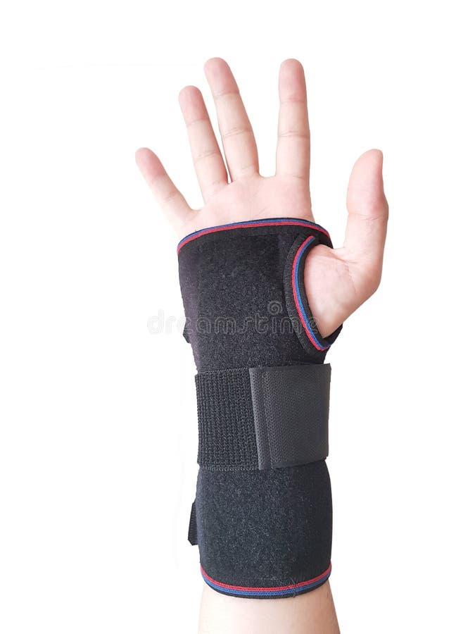 Schwarze Handgelenkschiene für rechtes männliches Modell stockbilder