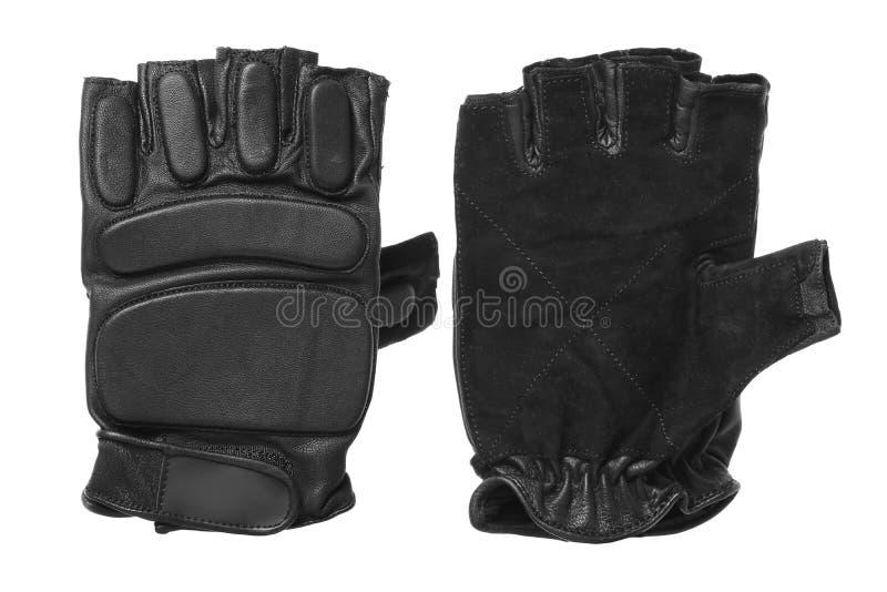 Schwarze Handschuhe für die Ausbildung auf einem weißen Hintergrund lokalisierten Eignungshandschuhe stockbilder