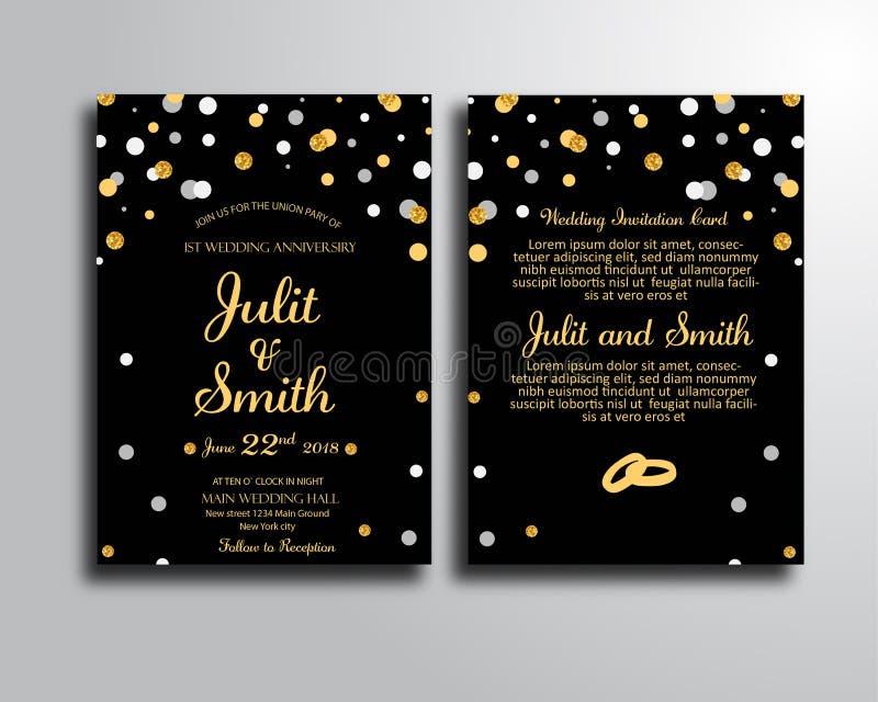 Schwarze Heiratseinladungs-Karten-Schablone lizenzfreie abbildung