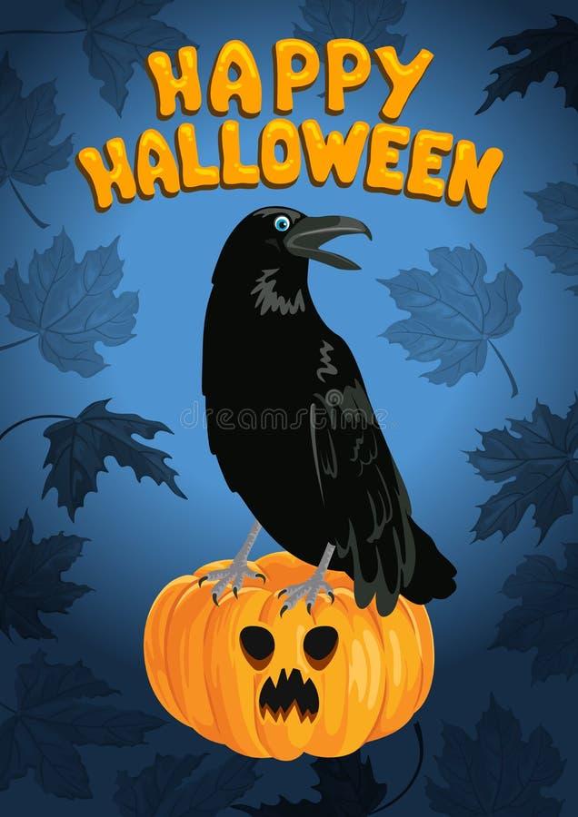Schwarze Hexen-Krähe, die auf Halloween-Kürbis sitzt vektor abbildung