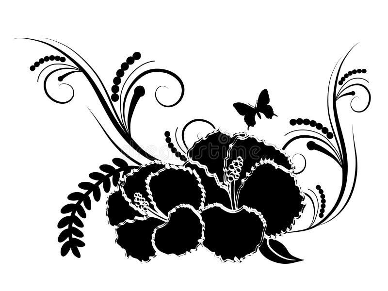 Schwarze Hibiscusblume lizenzfreie abbildung