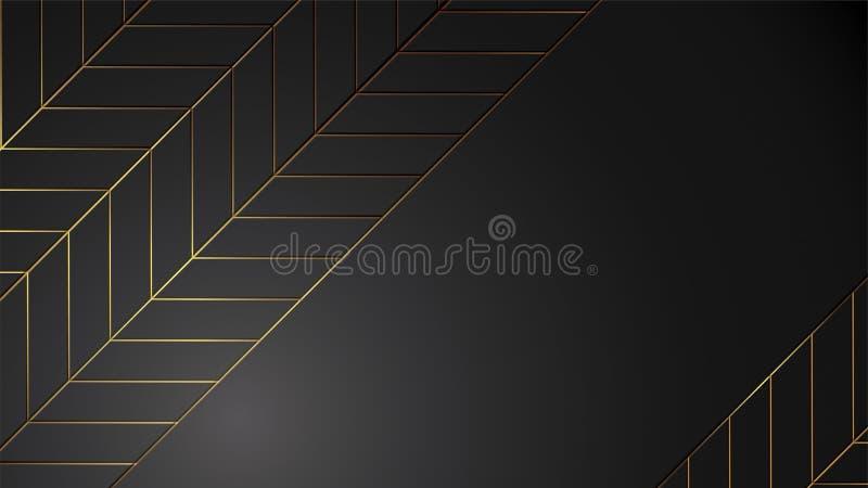 Schwarze Hintergrundfahnen-Vektorluxusillustration mit dem Goldstreifen-Art- DecoUrlaub modern lizenzfreie abbildung