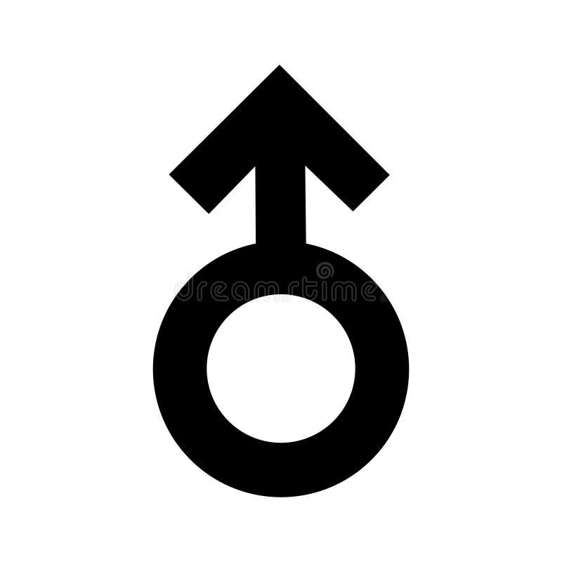 Schwarze Ikone der Geschlechtsmann-Zeichen Eine sexuelle Verbindung des Symbols Flache Art für Grafikdesign, Logo Viel Ruß Eine g stock abbildung