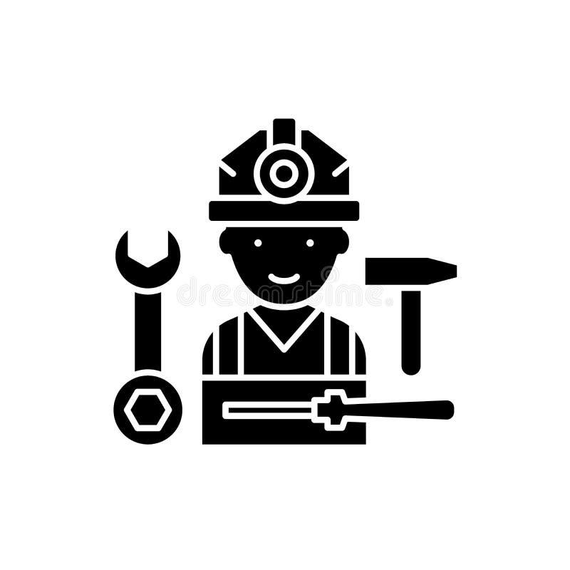 Schwarze Ikone der Installationsarbeit, Vektorzeichen auf lokalisiertem Hintergrund Installationsarbeitskonzeptsymbol, Illustrati vektor abbildung
