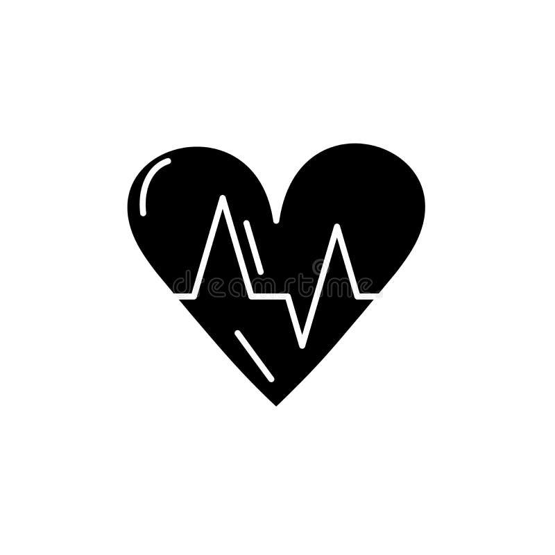 Schwarze Ikone der Kardiologie, Vektorzeichen auf lokalisiertem Hintergrund Kardiologiekonzeptsymbol, Illustration stock abbildung
