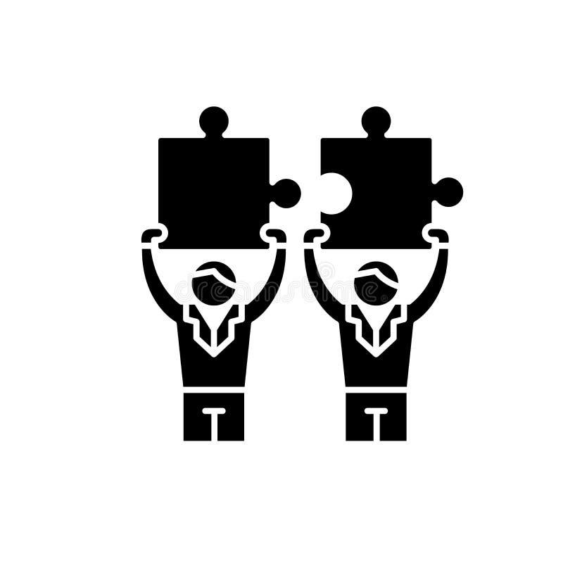 Schwarze Ikone der Zusammenarbeit zwischen Unternehmen, Vektorzeichen auf lokalisiertem Hintergrund Zusammenarbeit zwischen Unter stock abbildung